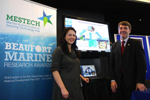 PhD student Edel O'Connor of the NCSR with Dr. Peter Heffernan, CEO of the Marine Institute at the event.
