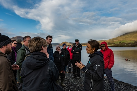Part of the UK and Ireland Lakes Network (UKILN) group at Lough Feeagh, with Elvira DeEyto. Photo Mikkel Andersen.