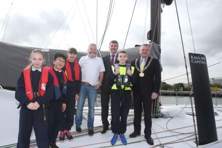 All aboard!  Marine Institute CEO Peter Heffernan joins Irish Skipper Enda O'Coineen, the Lord Mayor of Dublin Brendan Carr and some local primary school pupils on board the Kilcullen.   Photo Credit:  Leon Farrell, Photocall Ireland