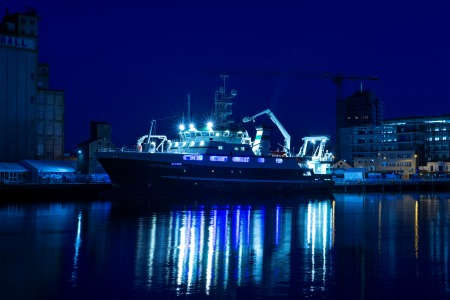 RV Celtic Explorer lit up blue in the Port of Cork, for SeaFest 2019. Photo Gerard McCarthy.