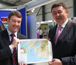 "Dr. Peter Heffernan of the Marine Institute presents IFA President Mr. Padraig Walsh with the ""Real Map of Ireland"" showing our nation's 220 million acre seabed territory"