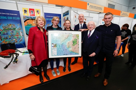 President Michael D. Higgins and his wife Sabine been presented with a framed picture of the Real Map of Ireland at Feilte 2018. Photo Conor McCabe Photography Ltd.