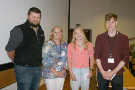 Group presentations winners, David McClean, Orla Mallon and Colin Guilfoyle with Helen McCormick.