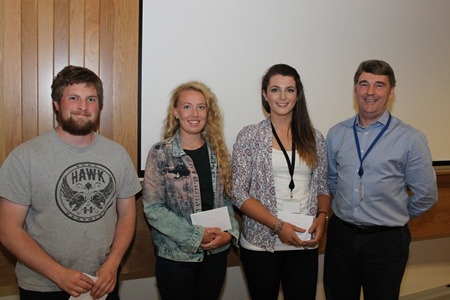 Fisheries Port Samplers, Declan, Ciara and Sharon been presented with 1st place in the group presentations by Dr Peter Heffernan, CEO Marine Institute