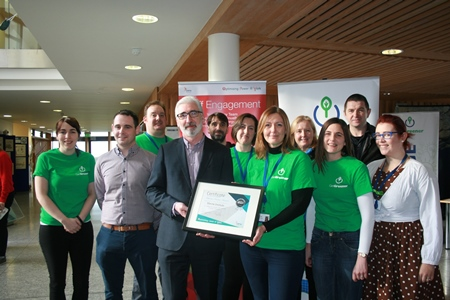The Marine Institute Get Greener team along with Caimin Barrett and Paul Tighe, OPW Optimising Power @ Work, receiving a certificate of achievement for energy saving over 20% for 2018 activities.