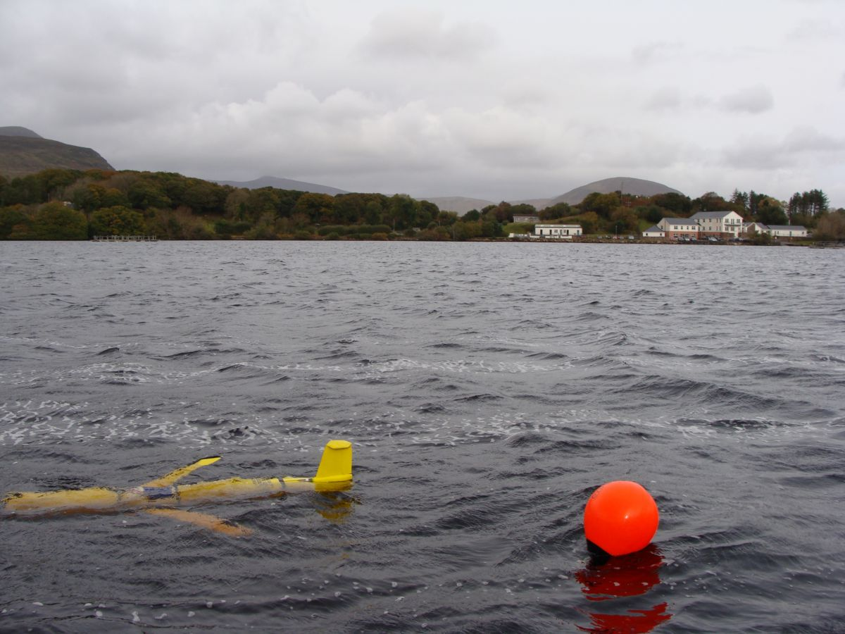 An unmanned underwater Glider in Lough Furnace, Newport