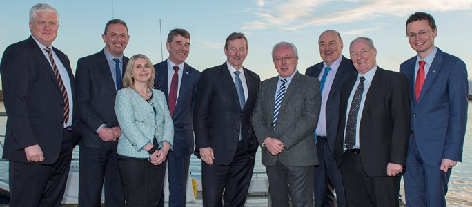 Philip McGinnity, University College Cork /Marine Institute, Paul Ross, University College Cork, Sarah Culloty, University College Cork, Peter Heffernan, CEO Marine Institute, Taoiseach Enda Kenny, Paul Connolly, Director Marine Institute, John Killeen, Chairman Marine Institute Board, Michael Ring, Minister of State for Regional Economic Development, and Patrick O'Donovan, Minister of State for Tourism and Sport at Newport on Saturday. Photo Cr Michael McLaughlin