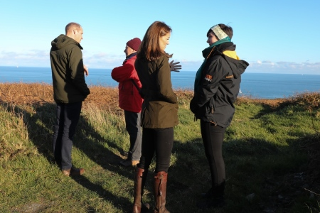 Dr Paul Connolly, CEO of the Marine Institute and All-Ireland Ocean Youth Ambassador, Eimear Manning, met with The Duke and Duchess at Howth, North County Dublin. Image Cr Julien Behal Photography