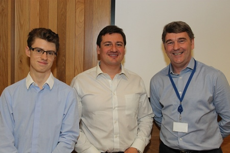 Philip Bane and Viktor Avgustin, 2nd place in group presentations with Dr Peter Heffernan, CEO Marine Institute