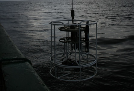 CTD being lowered into water. Image courtsey of the Marine Institute