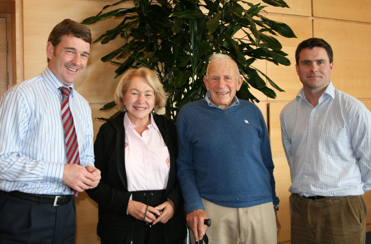 Mary Coakley Munk and Walter Munk pictured with Dr Peter Heffernan Ceo of the Marine Institute and Glenn Nolan during their visit to the Marine Institute in 2013. Photo: Cushla Dromgool-Regan