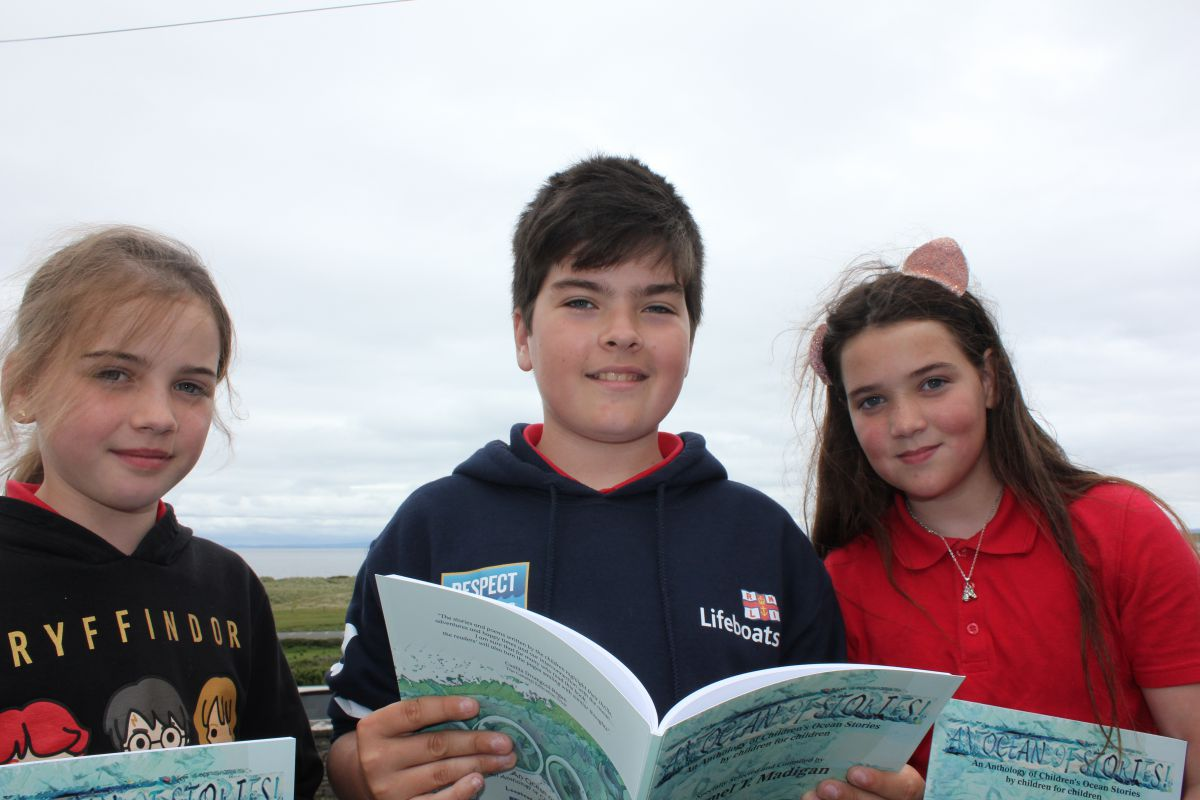Lily Casey, Liam Hynes and Annie Hynes from Fanore NS Clare feature in launch the book An Ocean of Stories - An Anthology of Children's Ocean Stories, by children from County Clare and County Limerick, leading up to World Oceans Day on the 8th of June. The book published by the Marine Institute's Explorers Education Programme officer, Carmel Madigan of the Loophead Summer Hedge School, includes over 50 stories, artwork and poems that were inspired by children's ocean experiences and highlights the major role the ocean has in our everyday life, over the last year.   Photo: Cushla Dromgool-Regan, Explorers Education Strategic Manager.