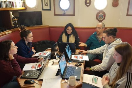 Fabio Sacchetti of INFOMAR / Marine Institute delivers part of the INFOMAR MSc module to students on board the RV Celtic Voyager in February 2020.