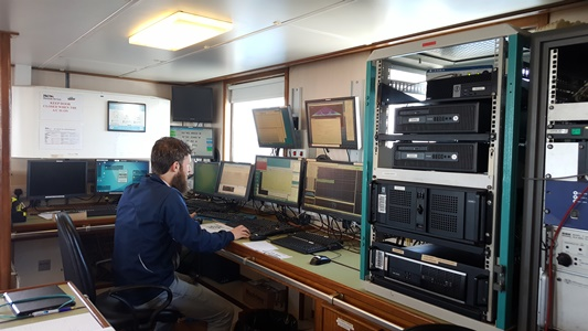 Michael Arrigan, who recently joined the INFOMAR survey team as a data processor, learns the ropes aboard his first survey.