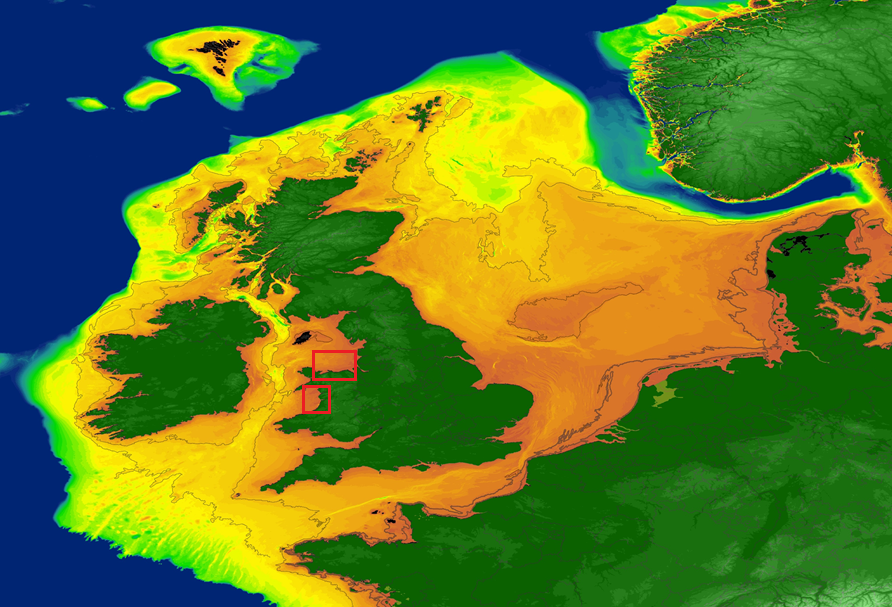 Approximate maximum extent of marine palaeolandscapes off the Irish and British coasts (survey areas in red)
