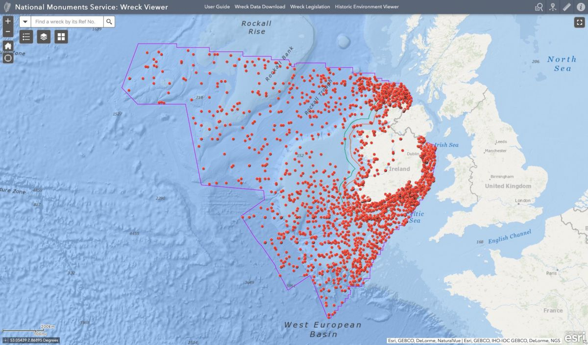 The recently unveiled Irish National Monuments Service Wreck Viewer lists the locations of more than 4,000 wrecks from a total of 18,000 records of potential wrecks in Irish waters. Photo: Government of Ireland