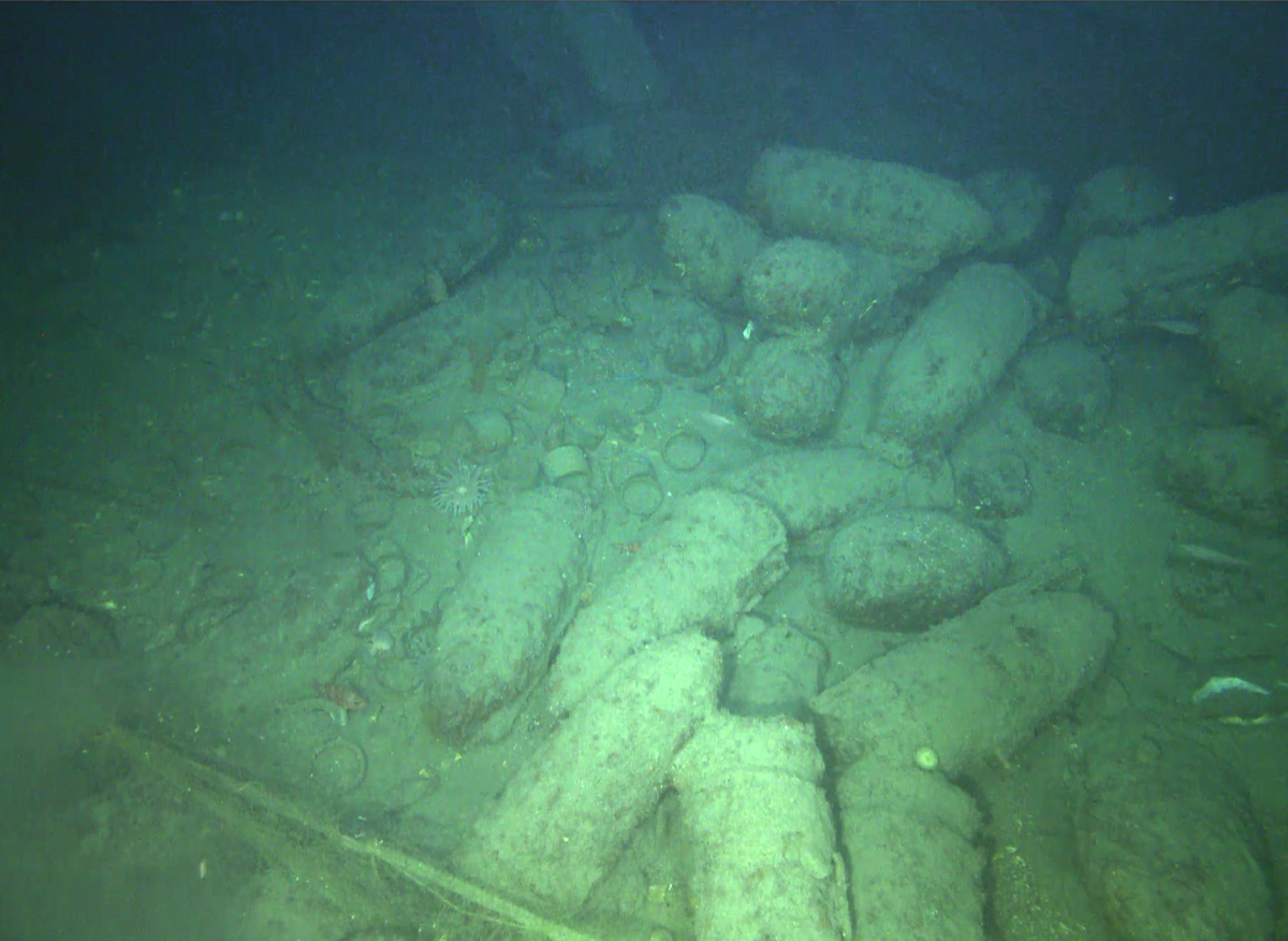 Pots and pans and unexploded ordinance (shells and primers) scattered on the seafloor were visible near the wreck off the coast of Kerry. Photo: CRIS, UL