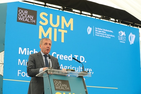 Minister for Agriculture, Food and the Marine Michael Creed T.D. at the Our Ocean Wealth Summit 2018 in Galway. Photo Jason Clake.