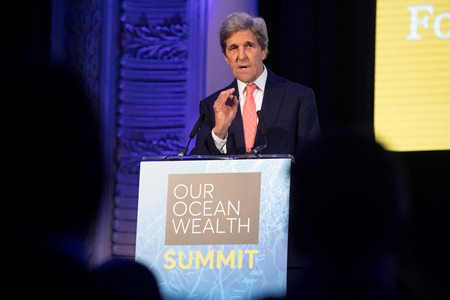 Environment Activist and former US Secretary of State John Kerry delivering keynote address at Our Ocean Wealth Summit in Cork