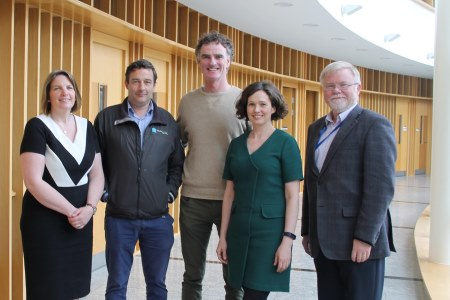 Filmmaker Ken O'Sullivan of Sea Fever Productions with Marine Institute staff, Caroline Bocquel Director of Corporate Services, Aodhan Fitzgerald Research Vessel Operations, Lisa Fitzpatrick Communications Manager and Mick Gillooly Director of Ocean Science and Information Services.