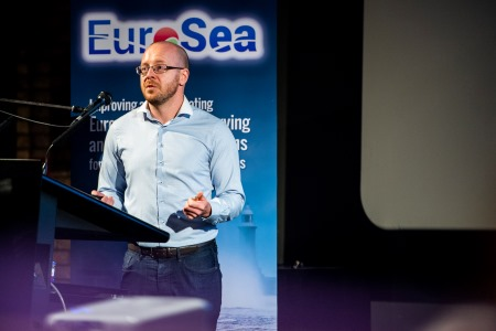 Kieran Reilly, Ocean Science and Information Services at the Marine Institute presenting at the EuroSea kick-off meeting recently held in Brussels. Photo provided by EuroSea, photographer Michael Chia.
