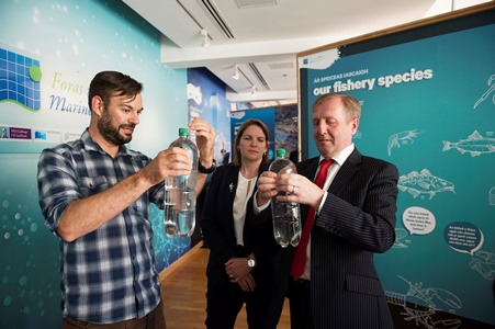 """Dave Clarke, Marine Institute meet with Michael Creed TD Minister for Agriculture, Food and the Marine at the launch of Ireland's first """"Sea Science - the Wild Atlantic"""" at the Galway City Museum. """"Sea Science - the Wild Atlantic"""" is a free exhibition and is a partnership between the Marine Institute and Galway City Museum. Photo:Andrew Downes, xposure"""