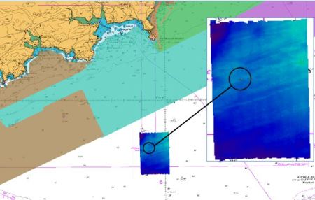 The Lusitania lies south of the Old Head of Kinsale, beyond the highlighted coastal extent of seabed previously mapped by INFOMAR.