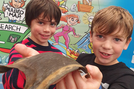 MacDara Flavin and Jack Gavin from Barna at the Marine Institute exhibition stand at Galway Science and Technology Festival. Photo Cushla Dromgool-Regan.