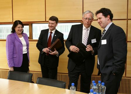 Photo (LtoR): Ms. Maire Geoghegan-Quinn - European Commissioner for Research, Innovation and Science; Dr. Peter Heffernan - CEO Marine Institute; Minister Tony Killeen T.D., Minister of State at the Department of Agriculture Fisheries and Food; Mark White Nowcasting International Ltd