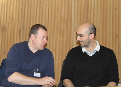 """Dr John Bartlett and Dr Nicholas Touzet at the Marine BioTech Call Info Day at the Marine Institute. Dr Touzet has undertaken research on  microscopic algae in estuaries and lakes in the north west of Ireland funded by Science Foundation Ireland, and is currently the academic supervisor for the Cullen Fellowship """"The Biological Oceanography of Azadinium"""", which is co-supervised by Joe Silke, Marine Institute."""