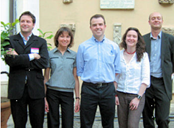 The Marine Board Secretariat (left to right): Aurélien Carbonnière (Science Officer), Dina Eparkhina (Administrator), Niall McDonough (Executive Scientific Secretary), Maud Evrard (Science Officer), Jan-Bart Calewaert (Science Officer), Rome May 2009.