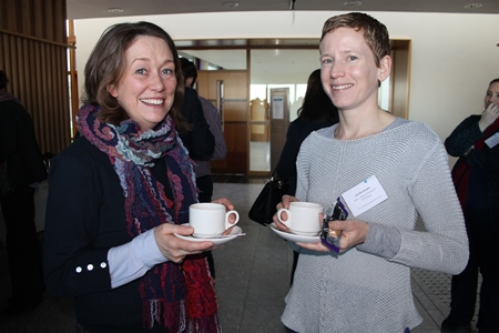 Caitriona Nic Aonghusa, Marine Institute and Deirdre Brophy, GMIT, attend the Marine Opportunities in EU Funding workshop at the Marine Institute