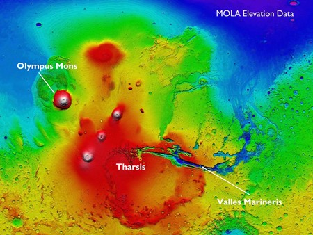 High resolution image of the surface of Mars from MOLA (Mars Orbiter Laser Altimeter).