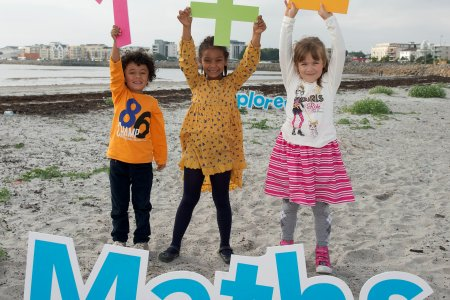 Children from St Nicholas Parochial School, Galway celebrating launch of maths week on Grattan Beach Galway as part of the Explorers Education Programme. Photo Andrew Downes Photography