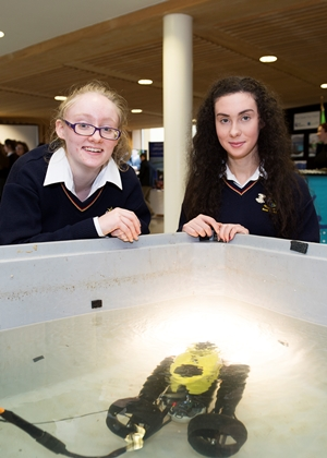 Mini ROV, pupils from St Mary's Ballina Amelia Grehan and Anna Conway. Photo:Andrew Downes, xposure.