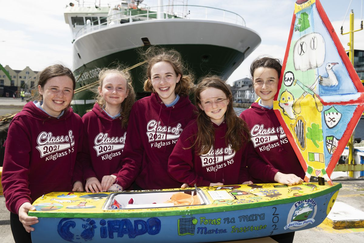 'Seoltóir Na Gaillimhe – the Galway Sailor' was delivered to the RV Celtic Explorer by the Kilglass National School, for its first part of its voyage, out to the Atlantic Ocean to be deployed in June. Image credit Andrew Downes, XPOSURE.