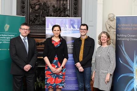The Marine Institute in collaboration with the Department of Foreign Affairs and Trade today, Friday 28th February 2020, launched the Network of Arctic Researchers in Ireland (NARI). Pictured is Liam Lacey, Marine Institute, Dr Audrey Morley of NUI Galway and President of NARI, Dakota Holmes, NUI Galway and Ciara Delaney, Department of Foreign Affairs and Trade.
