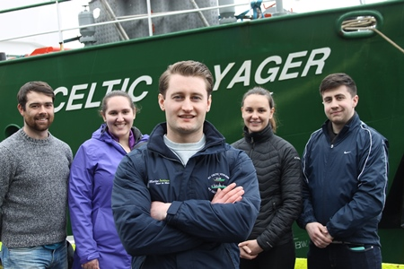 Scientists prepare for expedition sampling Nephrops larvae from the west of the Aran Islands carried out for the first time on the RV Celtic Voyager.  (Centre) Chief Scientist Ryan McGeady (Donegal), Marine Institute Cullen Fellow / NUIGalway  (LtoR) Darragh Furey,(Galway); Sophia Wasserman (Merryland, USA) IRC postgraduate scholar); Catherine Jordan (Mayo) Marine Institute Cullen Fellow / NUIGalway; Leigh Barnwall (Dublin). Photograph Cushla Dromgool-Regan