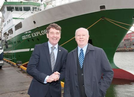 Dr Peter Heffernan, CEO of the Marine Institute and Canadian Ambassador to Ireland, his Excellency, Loyola Hearn, visiting the RV Celtic Explorer
