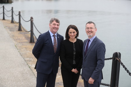 Marine Institute CEO Peter Heffernan, Yvonne Thompson, Partner at PwC and Jim O'Toole, CEO of BIM, Ireland's Seafood Development Company at the launch of Our Ocean Wealth Summit 2018 sponsored by PwC, which takes place on 28 and 29 June in Galway.   The 2 day conference will focus on Ireland's multi-billion euro marine economy, discussing the impact of Brexit, smart shipping, sea and airfreight logistics and Ireland's seafood sector, marine renewables, marine research, maritime commerce, financial planning for the marine, climate change and more. See www.ouroceanwealth.ie