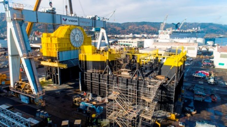 Ocean Energy divice currently under construction in Portland, Oregon. Photo courtesy of Ocean Energy