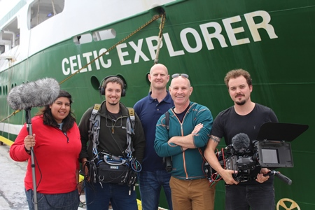 Chief scientist Ciaran O'Donnell, Marine Institute with the BBC One-The One Show film crew before the WESPAS survey. Photograph Fionn O'Fearghail