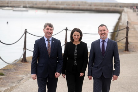 Marine Institute CEO Peter Heffernan, Yvonne Thompson, Partner at PwC and Jim O'Toole, CEO of BIM, Ireland's Seafood Development Company at the launch of Our Ocean Wealth Summit 2018 sponsored by PwC, which takes place on 28 and 29 June in Galway.   The 2 day conference will focus on Ireland's multi-billion euro marine economy, discussing the impact of Brexit on Irish waters, smart shipping, sea and airfreight logistics and Ireland's seafood sector, marine renewables, marine research, maritime commerce, fin