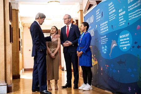 John Kerry, Alicia O'Sullivan, Simon Coveney and Selina Neirok Leem in discussions at the Our Ocean Wealth Summit 2019 in Cork.