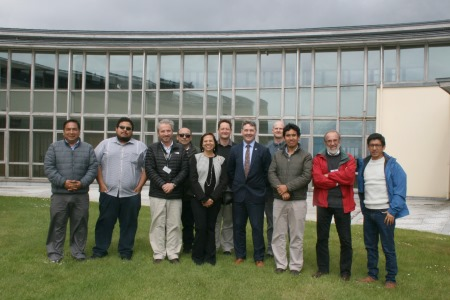 Dr Peter Heffernan, CEO of the Marine Institute with Her Excellency Ms Ana Maria Lilliana Sanchez Vargas de Rios, Ambassador of Peru, and the scientific and industry delegation from Peru at the ICES Working Group on Fisheries Acoustic Science and Technology (WGFAST) meeting at the Marine Institute.