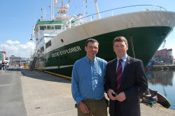 Dr. Andy Wheeler (UCC) mission leader and Dr. Peter Heffernan (CEO Marine Institute) at the RV Celtic Explorer prior to the departure of the mission