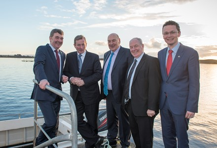 Peter Heffernan, CEO Marine Institute. Taoiseach Enda Kenny, John Killeen, Chairman Marine Institute Board, Michael Ring, Minister of State for Regional Economic Development, and Patrick O'Donovan, Minister of State for Tourism and Sport at Newport on Saturday. Photo Cr Michael McLaughlin