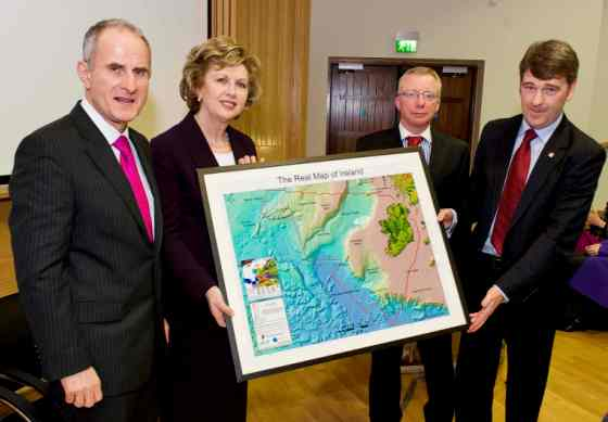 L to R: Dr Martin McAleese, President Mary McAleese, Marine Institute Chairman Jim Fennell and Chief Executive Dr Peter Heffernan with the 'Real Map of Ireland'.