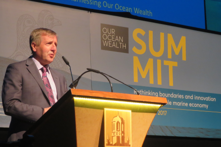 The Minister for Agriculture, Food and the Marine Michael Creed T.D. launched the National Marine Research & Innovation Strategy at the Our Ocean Wealth Summit at NUI Galway.