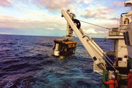 ROV Holland 1 recovering one of the monitoring stations web. Picture courtesy of University College Cork. .